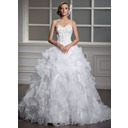 Ball-Gown Sweetheart Court Train Organza Satin Wedding Dress With Beadwork Sequins (002004530)
