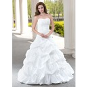 Ball-Gown Sweetheart Chapel Train Taffeta Wedding Dress With Ruffle Beading Appliques Lace (002012223)