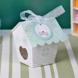 en jolie forme de maison Papier Nacre Boites de faveur et conteneurs/Gâteau Boîtes avec Rubans (Lot de 12) (050032973)
