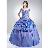 Duchesse-Linie Schulterfrei Bodenlang Taft Quinceañera Kleid (Kleid für die Geburtstagsfeier) mit Rüschen Perlen verziert (021016022)