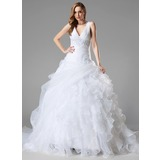Ball-Gown V-neck Chapel Train Organza Wedding Dress With Lace Beading Sequins Cascading Ruffles (002004781)