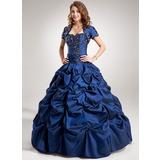 Duchesse-Linie Herzausschnitt Bodenlang Taft Quinceañera Kleid (Kleid für die Geburtstagsfeier) mit Rüschen Perlen verziert Applikationen Spitze Pailletten (021004560)