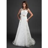 A-linjeformat V-ringning Court släp Spets Bröllopsklänning med Skärpband Beading Blomma (or) (002000187)