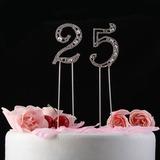 Brillante Strass Numero Cromo Anniversario Decorazioni per torte (119031362)