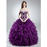 Duchesse-Linie Herzausschnitt Bodenlang Organza Quinceañera Kleid (Kleid für die Geburtstagsfeier) mit Applikationen Spitze Gestufte Rüschen (021016039)