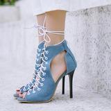 Femmes Similicuir Treillis Talon stiletto Sandales Escarpins À bout ouvert avec Dentelle chaussures (087208912)