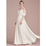 A-Line Floor-Length Chiffon Wedding Dress With Cascading Ruffles (002120296)