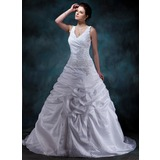 A-Line/Princess V-neck Court Train Taffeta Wedding Dress With Ruffle Beading Appliques Lace (002001588)