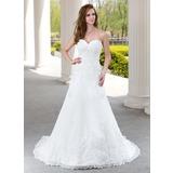 A-linjeformat Hjärtformad Court släp Tyll Bröllopsklänning med Rufsar Pärlbrodering Applikationer Spetsar (002000492)