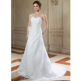 A-linjeformat Hjärtformad Court släp Organzapåse Bröllopsklänning med Rufsar Pärlbrodering Applikationer Spetsar Paljetter (002000148)
