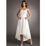 A-Line Sweetheart Asymmetrical Tulle Wedding Dress With Lace Beading (002011546)