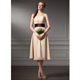 Empire Sweetheart Knee-Length Chiffon Bridesmaid Dress With Ruffle Sash (007000930)