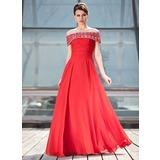 A-Linie/Princess-Linie Off-the-Schulter Bodenlang Chiffon Kleid für die Brautmutter mit Rüschen Perlen verziert Pailletten (008018927)