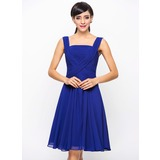 A-Line/Princess Square Neckline Knee-Length Chiffon Cocktail Dress With Ruffle (016005845)