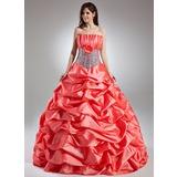Duchesse-Linie Wellenkante Bodenlang Taft Quinceañera Kleid (Kleid für die Geburtstagsfeier) mit Rüschen Blumen Pailletten (021015958)