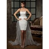 Jacka Hjärtformad Asymmtrisk Löstagbar Organzapåse Bröllopsklänning med Rufsar Blomma (or) (002011463)