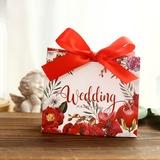 Amour doux Cuboïd Carte papier Boîtes cadeaux avec Fleur(s) (Lot de 30) (050197423)