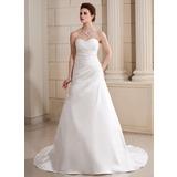 A-Line/Princess Sweetheart Chapel Train Satin Wedding Dress With Ruffle Beading (002000686)
