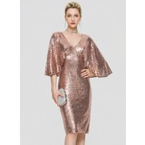 Sheath/Column V-neck Knee-Length Sequined Homecoming Dress (022204169)