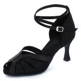 Frauen Satin Funkelnde Glitzer Heels Sandalen Latin mit Knöchelriemen Tanzschuhe (053022328)