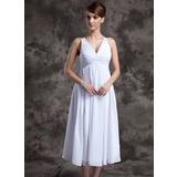 A-Linie/Princess-Linie V-Ausschnitt Wadenlang Chiffon Brautjungfernkleid mit Rüschen Perlen verziert (007025845)