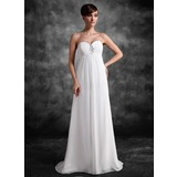 Empire Sweetheart Sweep Train Chiffon Maternity Bridesmaid Dress With Ruffle Lace Beading Sequins (045022472)