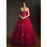 Duchesse-Linie Schatz Bodenlang Tüll Quinceañera Kleid (Kleid für die Geburtstagsfeier) mit Rüschen Perlstickerei Applikationen Spitze Pailletten (021004666)