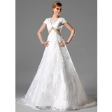 A-Line/Princess Square Neckline Chapel Train Lace Wedding Dress With Sash Crystal Brooch Bow(s) (002000125)