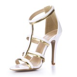 Lackleder Sandalen Absatzschuhe Peep Toe Schuhe (087051706)