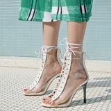 Vrouwen Kunstleer PVC Stiletto Heel Sandalen Pumps Peep Toe met Vastrijgen schoenen (087208914)