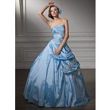 Duchesse-Linie Schatz Bodenlang Taft Quinceañera Kleid (Kleid für die Geburtstagsfeier) mit Rüschen Perlstickerei Applikationen Spitze Pailletten (021002910)