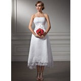 A-Line/Princess Sweetheart Asymmetrical Satin Organza Wedding Dress With Lace Beading Sequins (002008177)