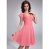 A-Line/Princess V-neck Knee-Length Chiffon Bridesmaid Dress With Ruffle (022018791)