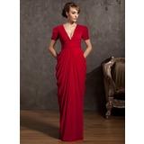 Etui-Linie V-Ausschnitt Bodenlang Chiffon Kleid für die Brautmutter mit Rüschen (008014885)