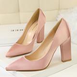 Frauen Satin Keil Absatz Absatzschuhe Geschlossene Zehe Schuhe (085114800)