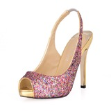 Women's Sparkling Glitter Stiletto Heel Peep Toe Sandals Slingbacks With Sequin (047016566)
