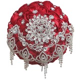 Round Satin/Rhinestone Bridal Bouquets (Sold in a single piece) - (123182130)