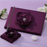 Flowers Design Rhinestones Guestbook & Pen Set (101037364)