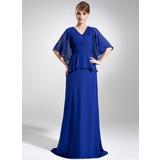 A-Linie/Princess-Linie V-Ausschnitt Sweep/Pinsel zug Chiffon Kleid für die Brautmutter mit Perlstickerei Pailletten Gestufte Rüschen (008006073)