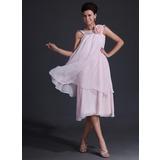 A-Line/Princess Scoop Neck Tea-Length Chiffon Charmeuse Bridesmaid Dress With Flower(s) (007017320)