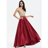 A-Line Scoop Neck Asymmetrical Satin Prom Dresses With Lace Beading (018175930)