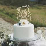 Personalized Bear Design Wood Cake Topper (119203570)