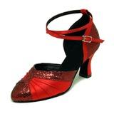 Vrouwen Satijn Sprankelende Glitter Hakken Pumps Moderne Ballroom Dansschoenen (053008916)