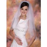 2 couches Voile de mariée longueur coude avec Bord perlé (006013288)