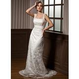 Jacka Hjärtformad Watteau släp Spetsar Bröllopsklänning med Rufsar Pärlbrodering (002012795)