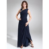 A-Line/Princess V-neck Asymmetrical Chiffon Mother of the Bride Dress With Ruffle Beading (008006460)