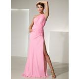 Sheath/Column One-Shoulder Sweep Train Chiffon Prom Dress With Ruffle Beading Flower(s) Split Front (018014467)