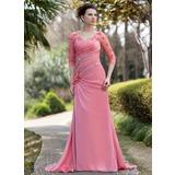 A-Linie/Princess-Linie V-Ausschnitt Sweep/Pinsel zug Chiffon Kleid für die Brautmutter mit Rüschen Perlen verziert Blumen Pailletten (008018986)
