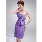 Jacka Hjärtformad Knälång Taft Cocktailklänning med Rufsar Pärlbrodering Rosett/-er (016008408)