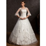 Ball-Gown V-neck Floor-Length Tulle Wedding Dress With Lace Beading (002015168)